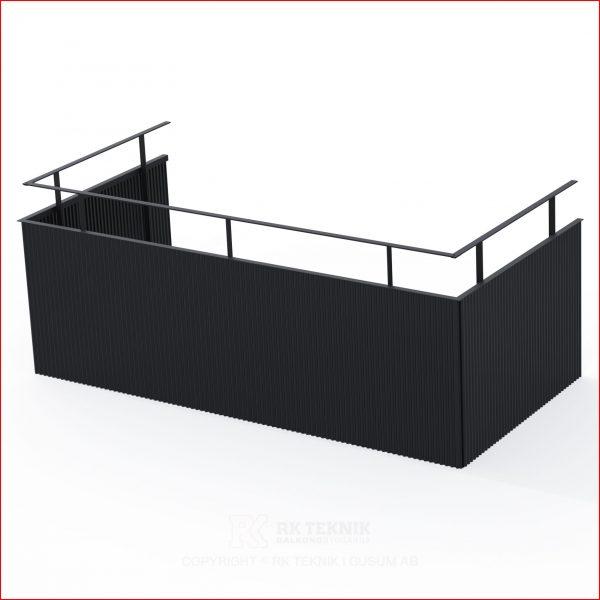 Svart balkong räcke i perforerad stålplåt